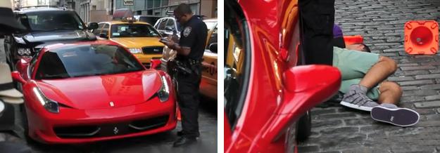 El propietario de un Ferrari 458 Spider hace caso omiso a un policía que le estaba poniendo una multa y pasa esto
