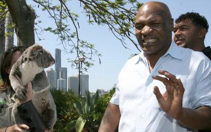 El boxeador Mike Tyson intimidado por el Koala Trace durante una visita promocional a Australia