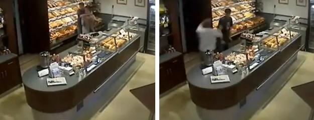 Un ladrón intenta robar en una panadería y el jefe del establecimiento lo tumba de un puñetazo en la cabeza