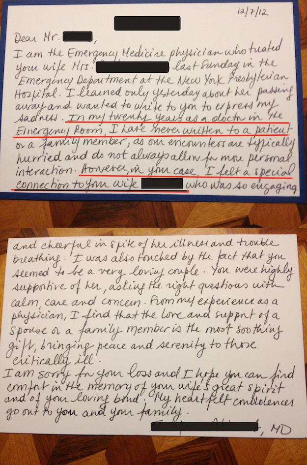 La carta de un médico tras la muerte de su paciente conmociona a Internet