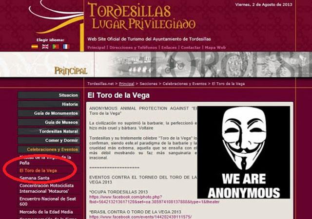 Anonymous hackea la web del Ayuntamiento de Tordesillas en la que publicitan el Toro de la Vega