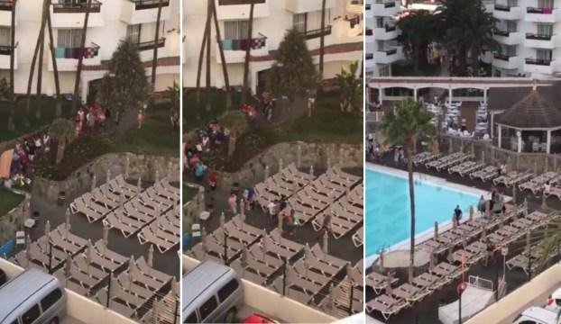 Decenas de turistas corren como locos para colocar su toalla cerca de la piscina learn to say - Tumbonas gran canaria ...