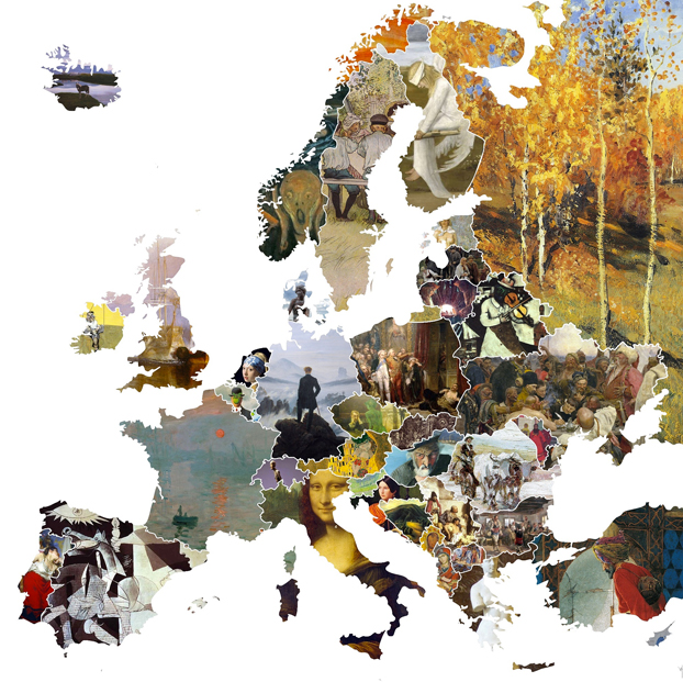 Mapa de Europa hecho con el cuadro más icónico de cada país