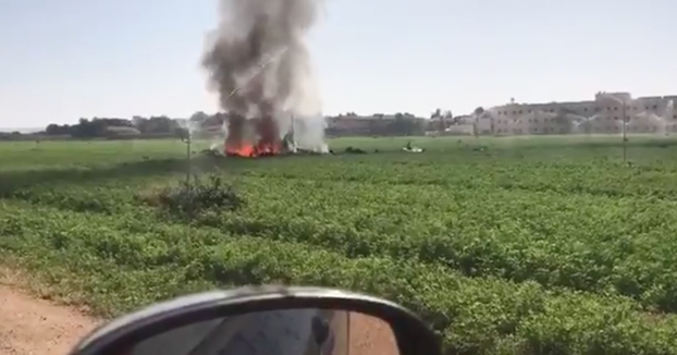 Primeras imágenes del accidente del avión Eurofighter que volvía del desfile del 12 de Octubre