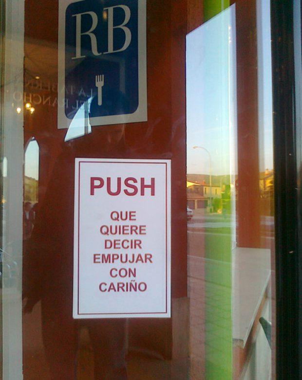 Quizás sea la mejor manera de traducir la palabra ''Push''
