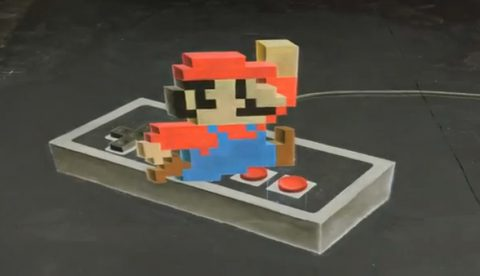 Espectacular dibujo de Super Mario en 3D hecho a tiza