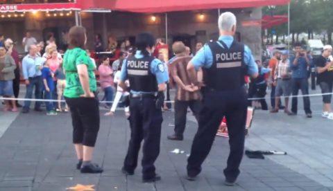 Detención de un artista callejero en Montreal
