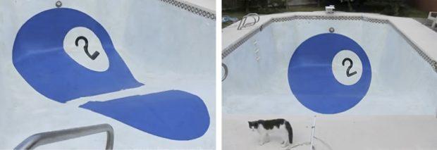 Efecto óptico en una piscina: Bola de billar