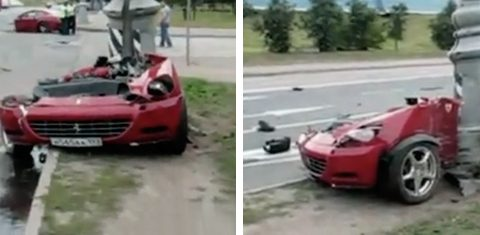 Un Ferrari 612 Scaglietti partido en dos tras un accidente en Rusia