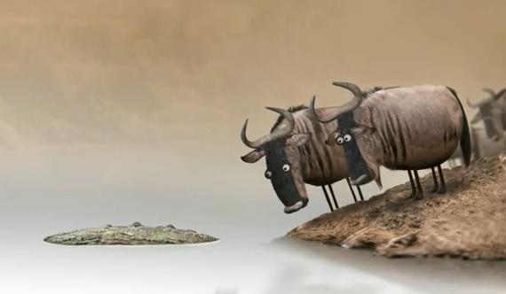 Corto de animación: El momento en el que dos ñus se disponen a cruzar un río