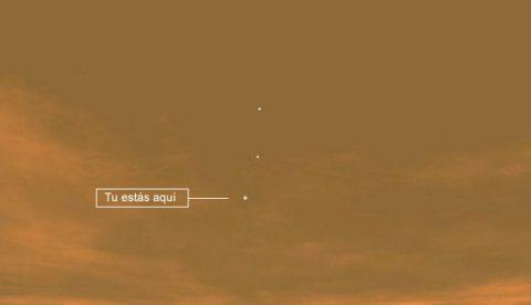 Fotografía tomada por el Curiosity de la Tierra vista desde Marte