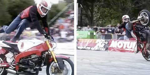 Las impresionantes acrobacias sobre la moto de Stunter 13