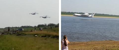 Dos aviones Be-200 recogen el agua del río Ob