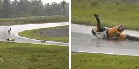 El piloto Marlinton dos Reis Teixeira simula un desmayo para provocar la bandera roja en pista