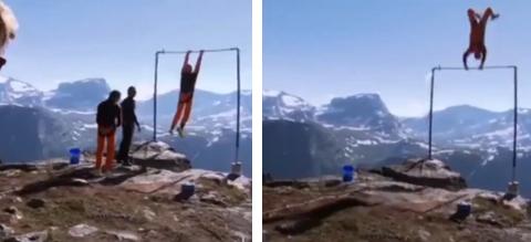 Richard Henriksen casi muere haciendo salto BASE acrobático desde una barra fija