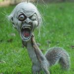 Una ardilla se pone una máscara de Halloween