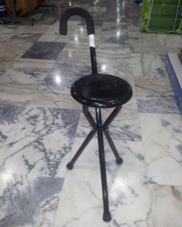 El bastón-silla, lo último en tecnología china