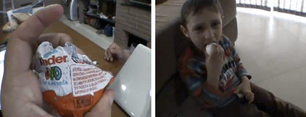 Un padre trollea a su hijo haciéndole creer que le ha dado un huevo kinder de verdad
