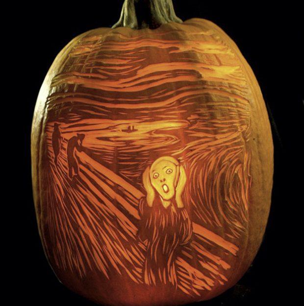 Calabaza tallada con ''El grito'' de Munch