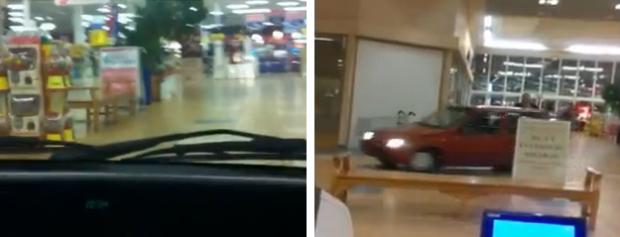 Entran con un coche en el interior de un centro comercial
