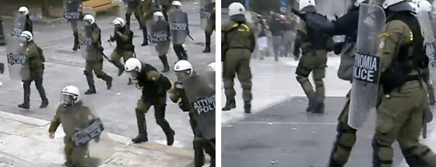 Lluvia de piedras a los antidisturbios griegos