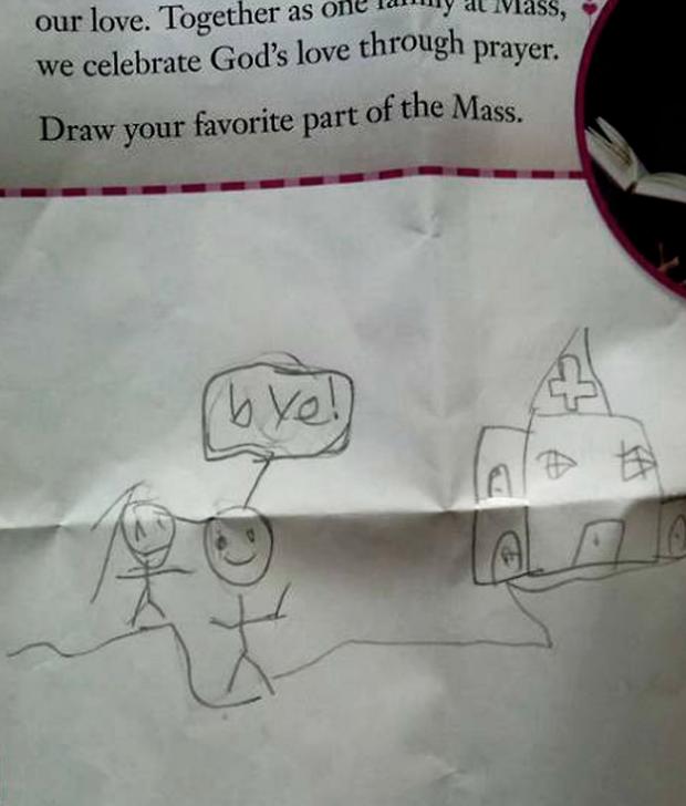 Se le preguntó a un niño cuál era su parte favorita de la misa y esto es lo que dibujó