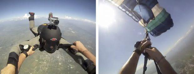 Dos paracaidistas chocan en el aire después de que a uno de ellos se le retorciesen las cuerdas