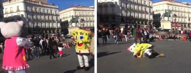 Bob Esponja y Hello Kitty, a puñetazo limpio en la Puerta del Sol