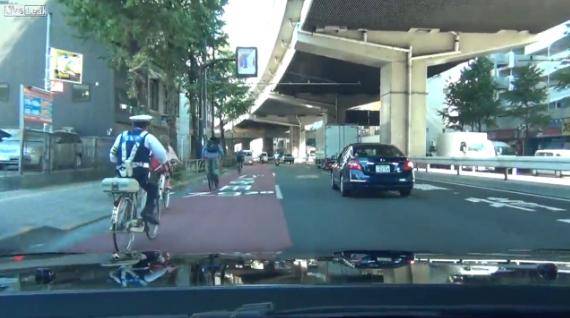 Persecución policial en bicicleta en Japón