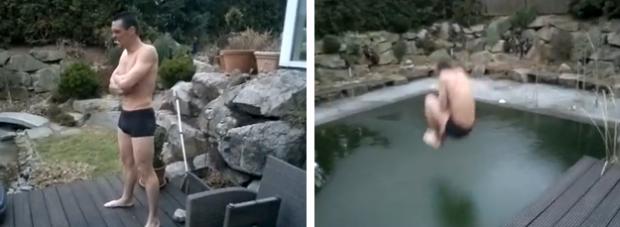 El salto a la piscina en bomba más doloroso del mundo