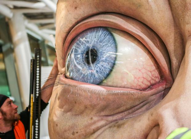 Escultura gigante de Gollum en el aeropuerto de Wellington, en Nueva Zelanda
