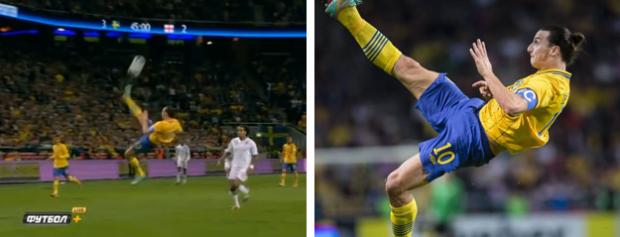 Zlatan Ibrahimovic marca un golazo de chilena desde 25 metros contra Inglaterra