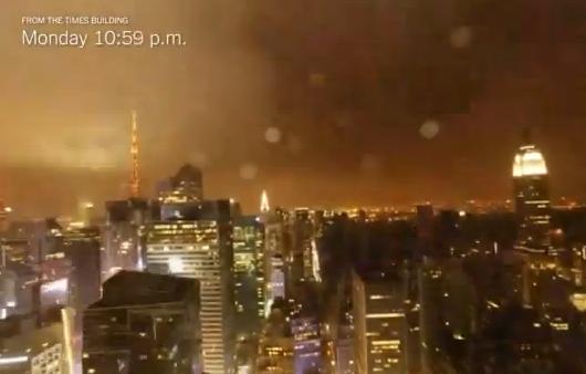 El huracán Sandy visto desde la azotea del edificio del New York Times