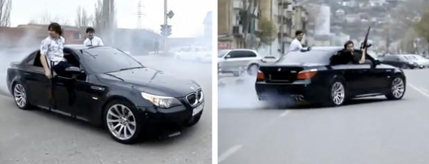Miembro de la mafia chechena liándola con un AK47 sobre un BMW M5