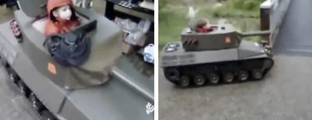 Un padre le construye un tanque a su hijo