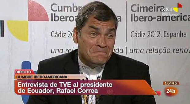 Rafael Correa, Presidente de Ecuador, pregunta por Ana Pastor en una entrevista en directo en el Canal 24h