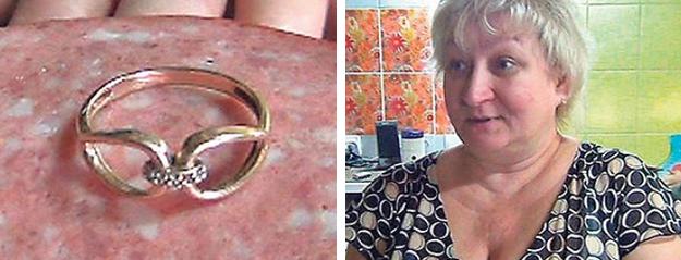 Una mujer rusa encuentra un anillo de diamantes dentro de un embutido