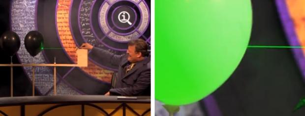 Un puntero láser puede explotar un globo de color negro pero no uno de color blanco
