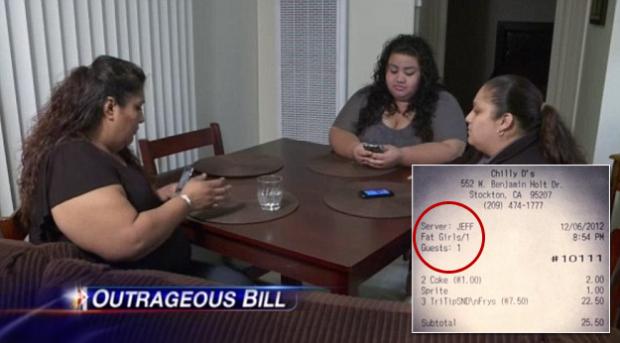 """Varias mujeres furiosas después de que al acabar de cenar llegara la palabra """"Chicas Gordas"""" en el ticket de la cuenta"""