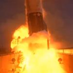 Explosión de un cohete norteamericano Atlas en 1961