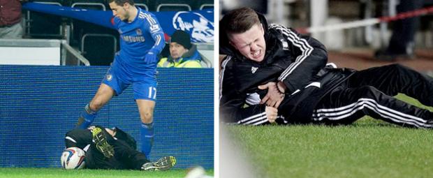 Eden Hazard le mete una patada a un niño recogepelotas