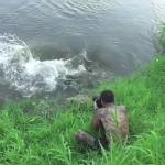 Un fotógrafo consigue escapar del ataque de un cocodrilo