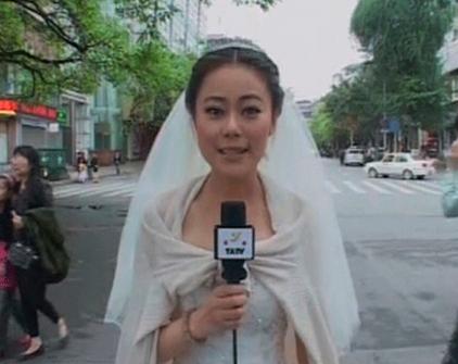 Una periodista china abandona su boda para informar sobre el terremoto en Sichuan