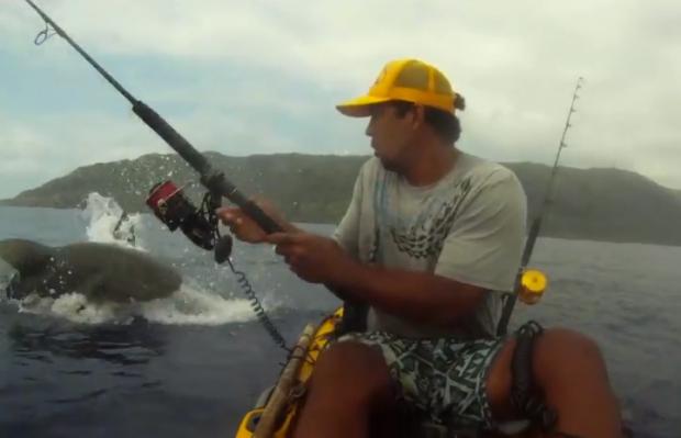 Un tiburón le mete un buen susto mientras que pescaba desde su kayak en Hawai