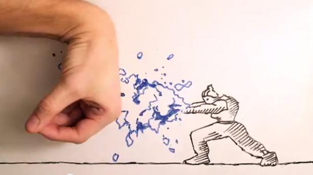 Pelea a muerte entre una mano y un dibujo