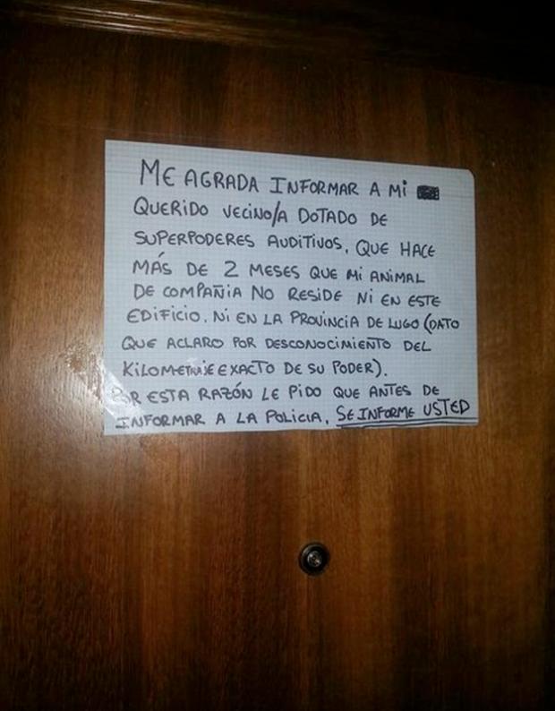 Querido vecino: Mi animal de compañía ya no reside ni en este edificio ni en la provincia de Lugo...