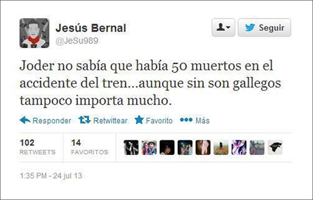 El tuitero que se mofó de los muertos del accidente de Santiago de Compostela