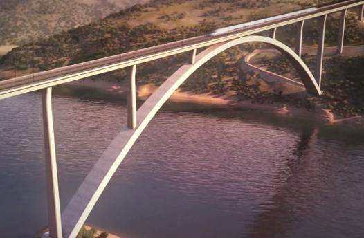 Viaducto sobre el río Tajo para el paso del AVE