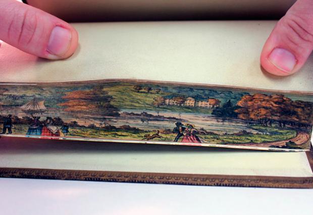 Cuadros del siglo XIX pintados en los bordes de los libros