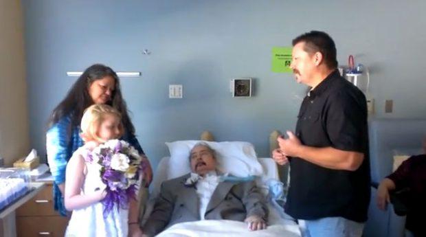 Niña de 10 años 'se casa' junto a su padre que se está muriendo debido a una enfermedad pulmonar